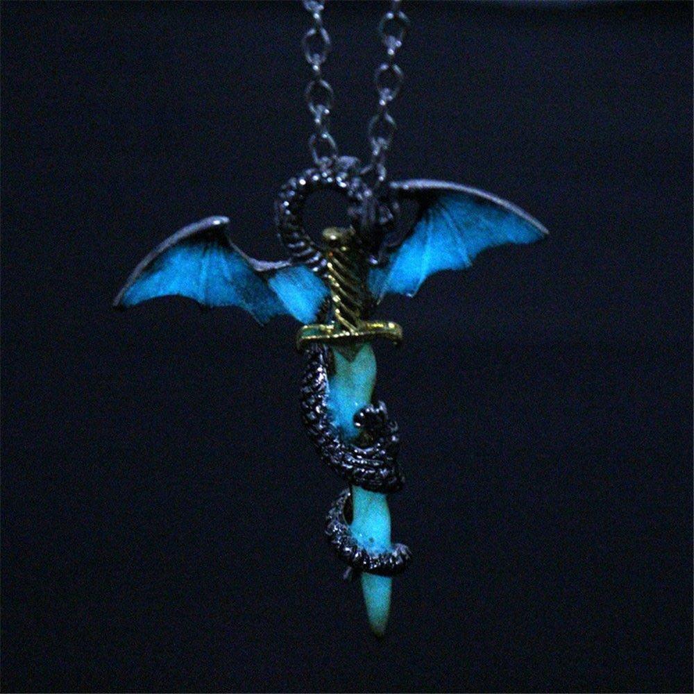 phitak shop Game of Thrones Dragon Sword Punk Luminous Necklace Targaryen Glow Pendants