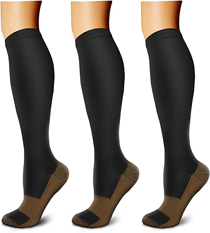 Copper Fit 3 White /& Grey Sport Performance Athletic Compression Socks L//XL NEW