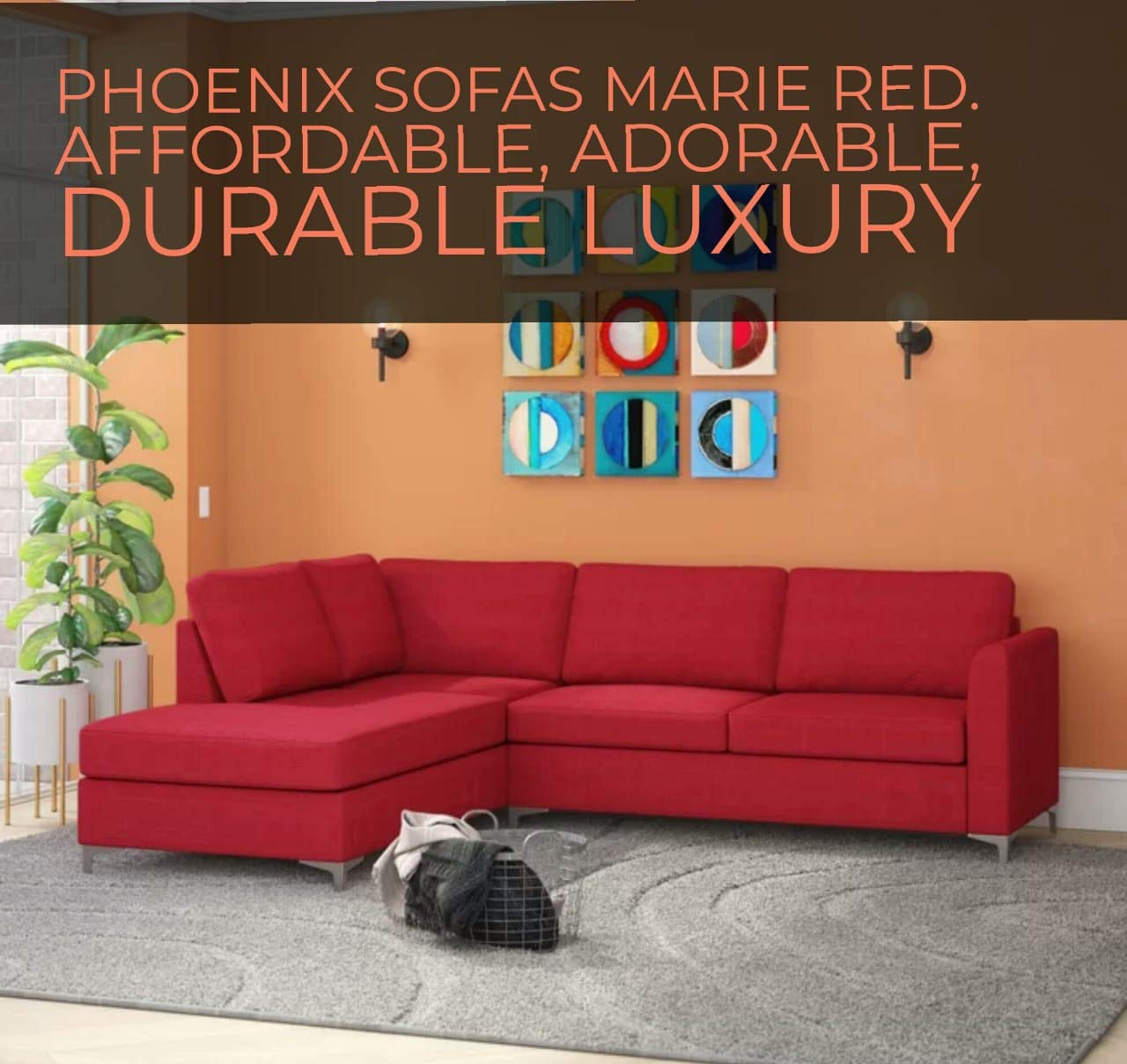 Phoenix Marie red sectional Sofas: Amazon.in: Home & Kitchen