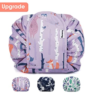20da296e3cc Amazon.com   Portable Lazy Drawstring Makeup Bag Travel Cosmetic Pouch  Toiletry Organizer Quick Storage for Women and Girls   Beauty