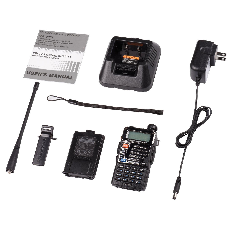 Baofeng UV-5RE Two Way Radio Long Range Walkie Talkie UHF VHF Radio Dual-Band136-174//400-480 MHz 128Channels Upgrade Enhanced Metallic Version FM Amateur Portable Radio Transceiver  Black