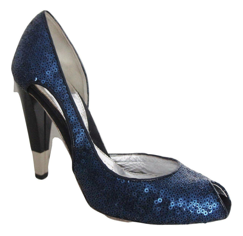 Pied A Terre Navy Blau Blau Blau Pailletten Obermaterial waistless Leder gefüttert Pumps faec3b
