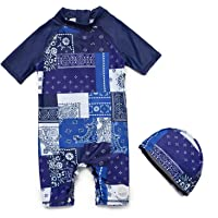 Bonverano(TM Baby boy UPF 50+ Sun Protection S/S One Piece Kids Sunsuit with Zipper