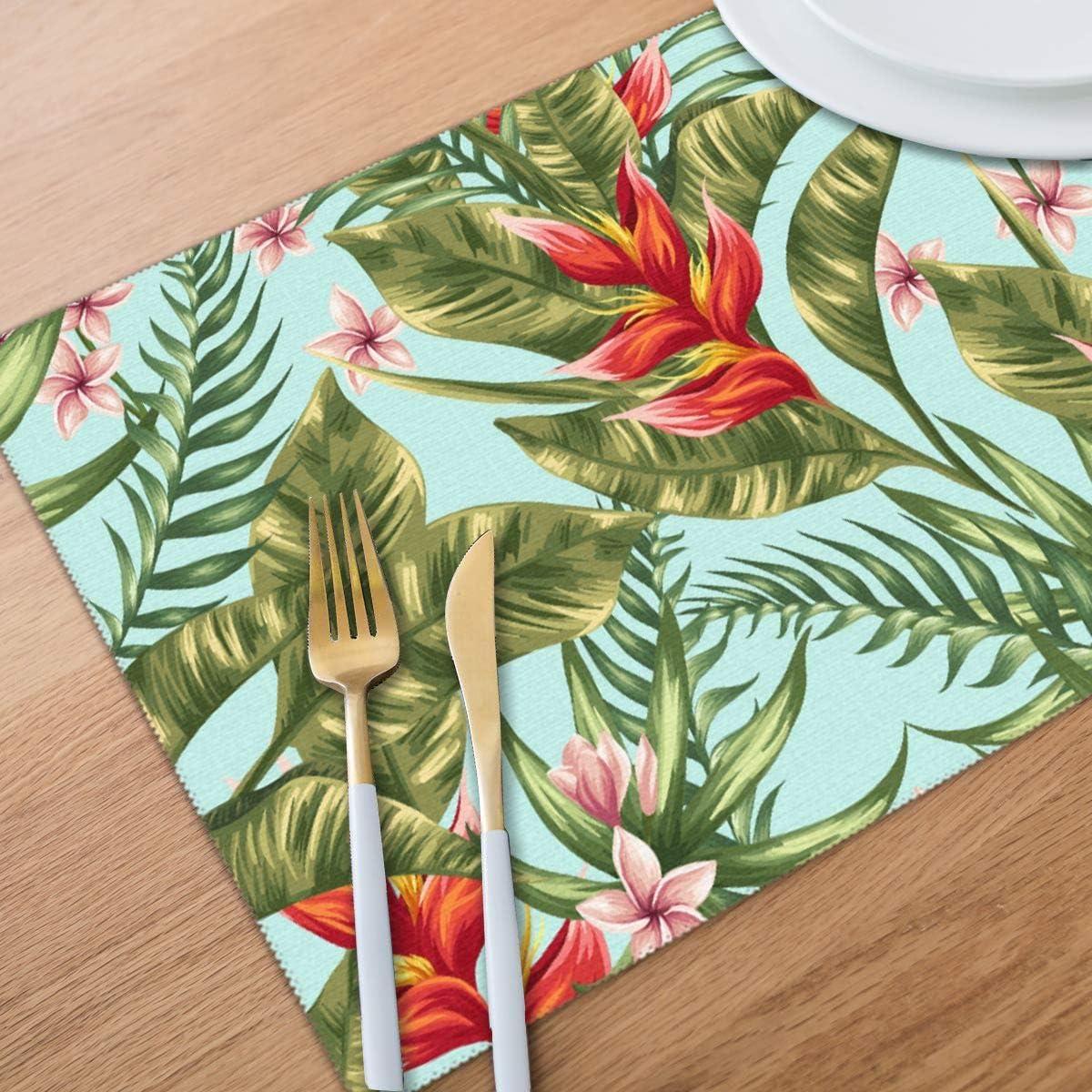 d/écoration de Table Good things mall Lot de 6 Sets de Table Tropical pour Table de Salle /à Manger r/ésistant aux Taches Isolation Thermique 30,5 x 45,7 cm lavables