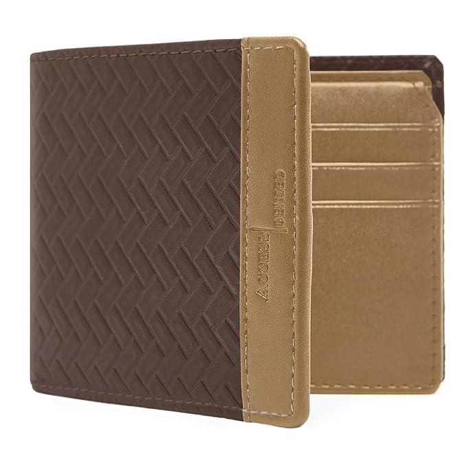 f09514775ccce Access Denied Mens Vegan Faux Leather Bifold Wallet Flip up ID Slim (Dark  Brown &