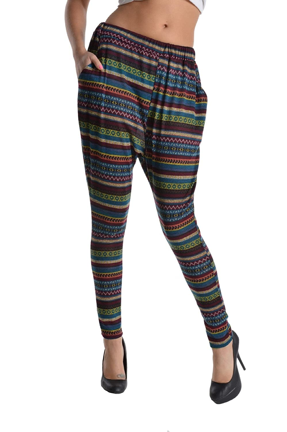 Noble U Aztec Multi Print Slouchy Knit Pants with Pockets