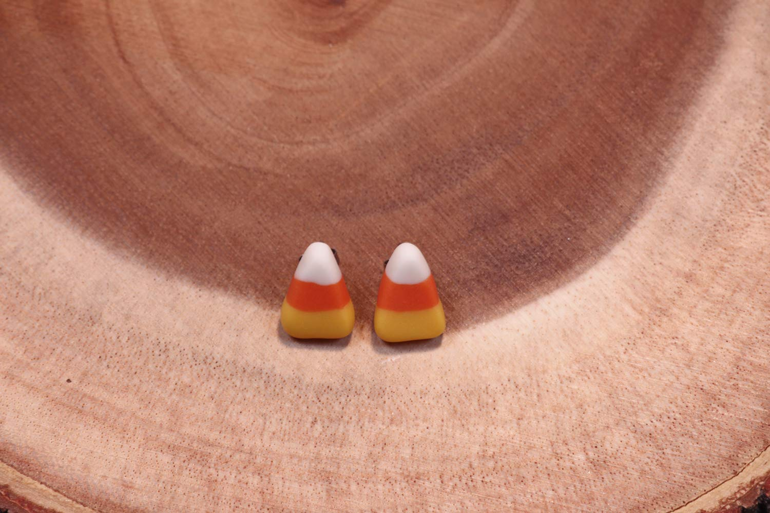 partially Glow-in-the-dark jewelry Handmade Halloween Candy Corn Stud Earrings special fall gift