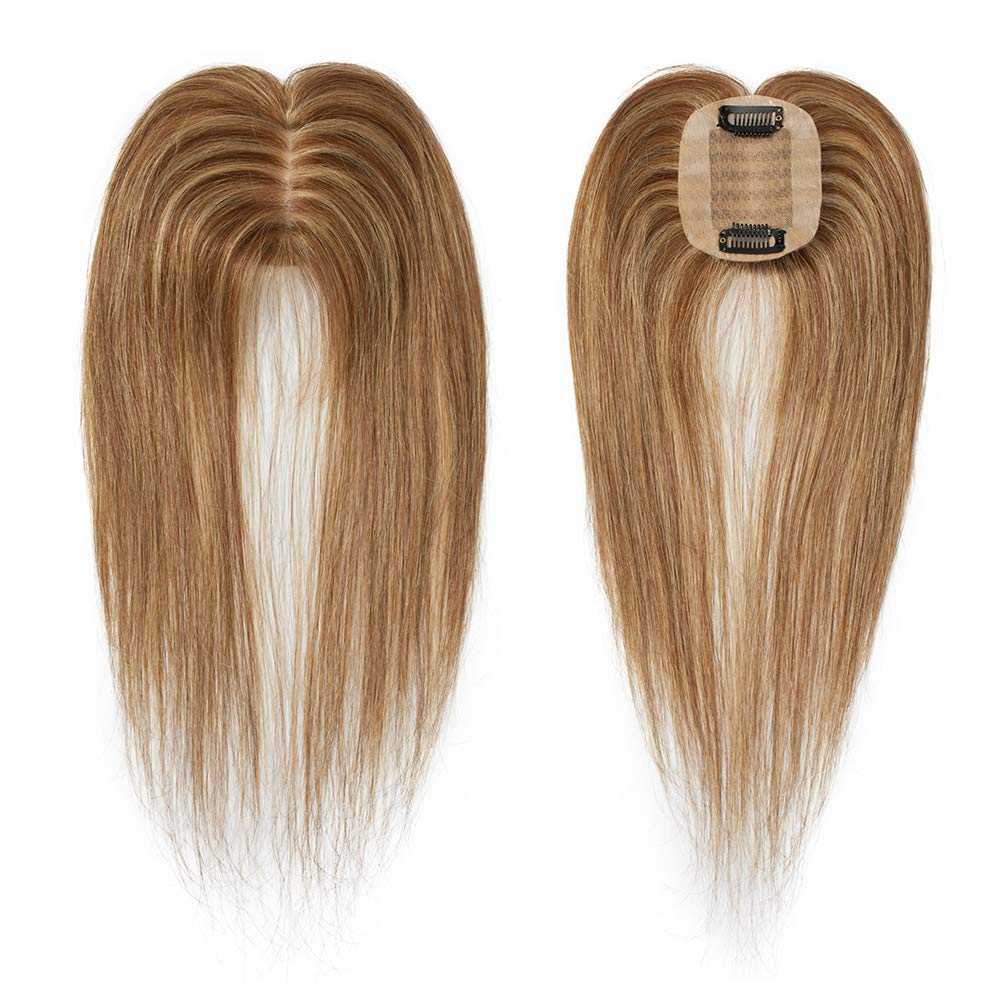 Highlighted Human Hair Toppers for Women With Thinning Hair Clip in Top Hair Piece Silk Base Top Hairpiece 100% Density Hand-made Crown Hair Extensions 14 inch Medium Brown mixed Dark Blonde #4&27 by Benehair
