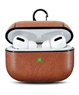 Croiky Leather Skin Protective Shockproof Cover with Keychain Support Wireless Charging Compatible with Apple Airpods Pro & 3 - Brown