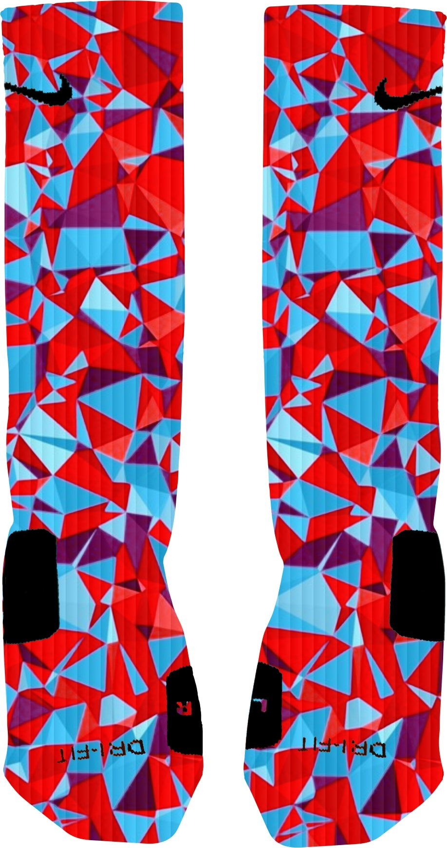1a353f146fdad Galleon - 3D Red And Blue Prism Nike Elite Socks