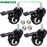 "DICASAL 2"" Stem Casters, Heavy Duty Swivel Stem Casters PU Foam Quite Mute No Noise Castors Markless Wheels Double Bearings and Locks Loading 300 Lbs Pack of 4 with Brake Black"