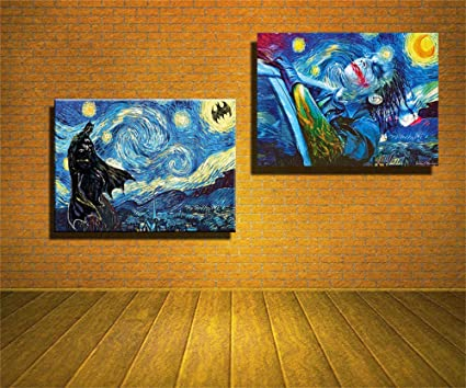 lihuaiart-Batman,Joker,Starry Night Wall Art Home Wall Decorations for  Bedroom Living Room Oil Paintings Canvas Prints-406 (Framed)