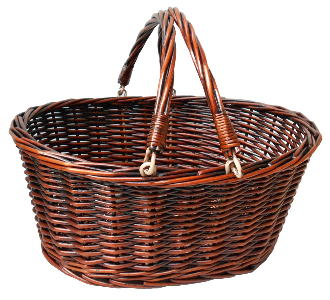 Premium Traditioneller Weidenkorb Einkaufskorb mit klappbare Griffe–Große Vintage braun Jaffa Imports
