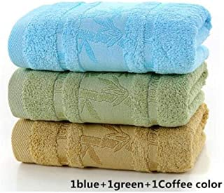 PWTY 3Pcs / 1Set 100% Coton Absorbant Solide Couleur Douce Serviette Confortable Séchage Rapide Serviette 34X76Cm