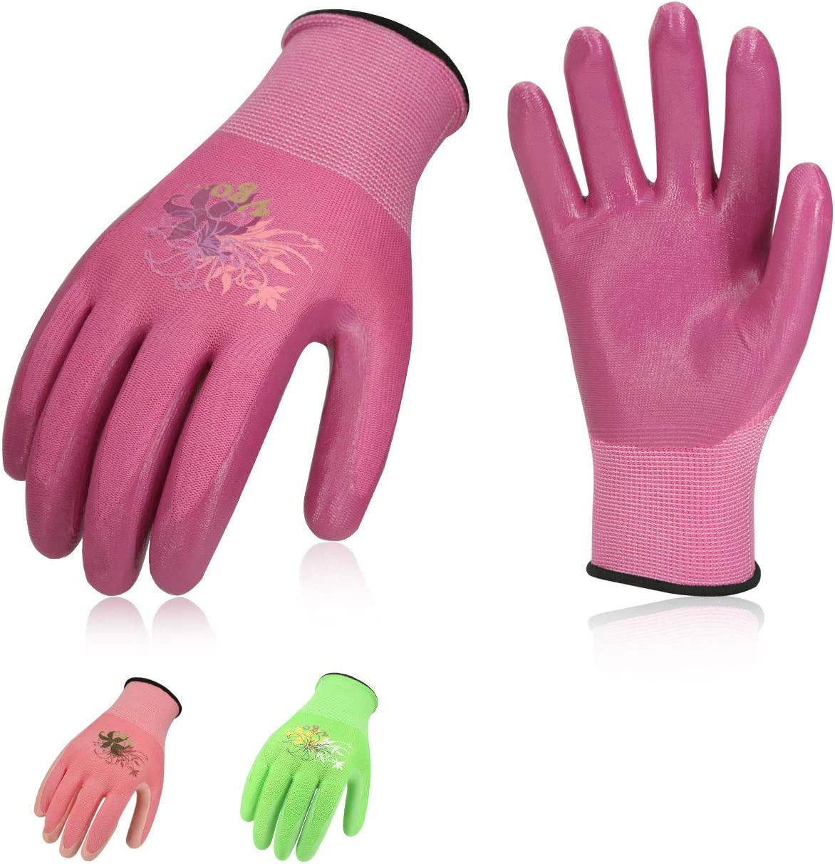 Vgo 3Pairs Ladies' Nitrile Coating Gardening and Work Gloves (Size L, Green & Pink & Purple, NT2110)