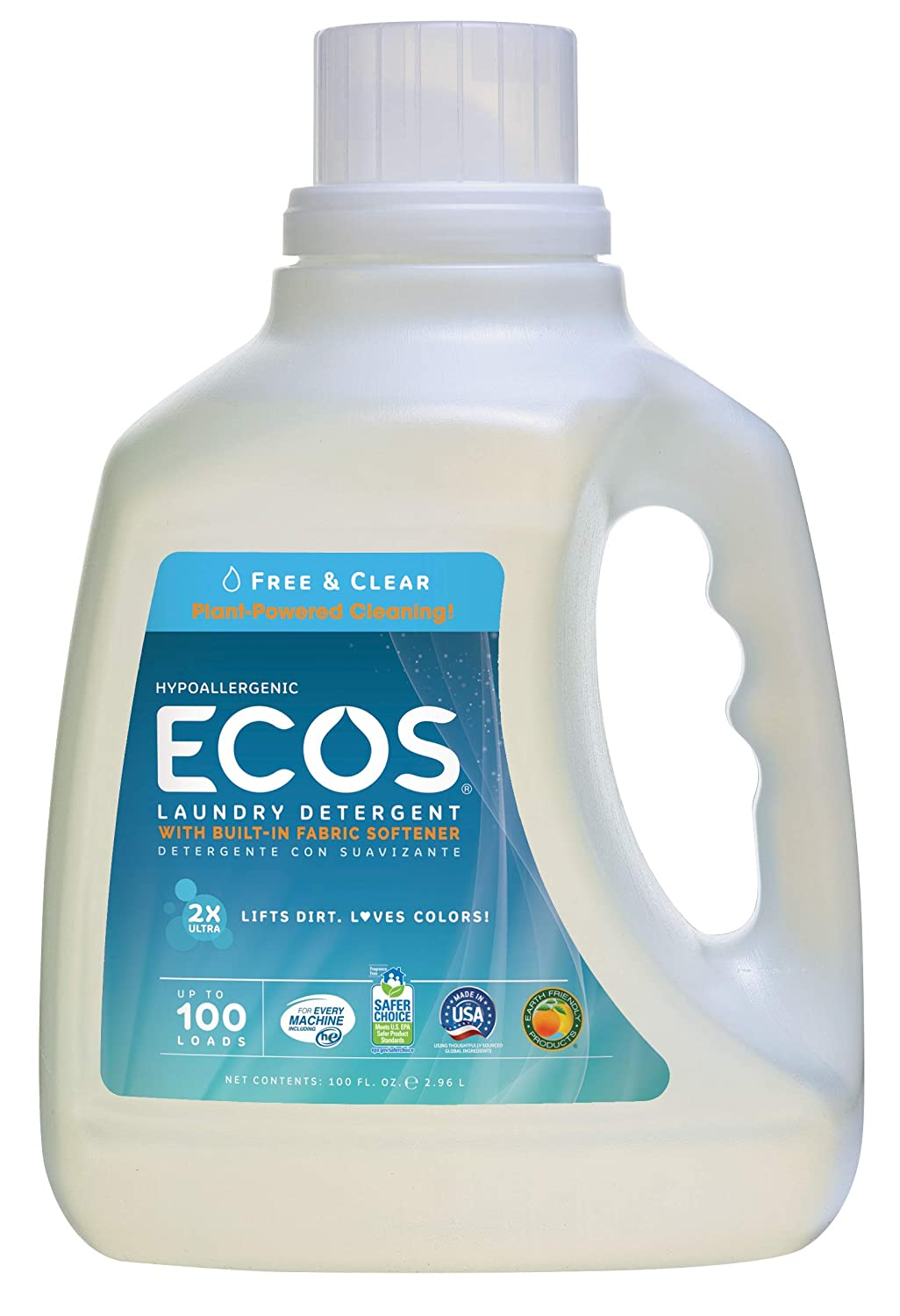 Earth Friendly Products Ecos Liquid Laundry DetergentFree & Clear, 100 Oz