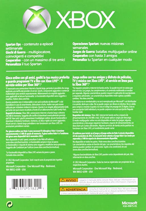 Microsoft Xbox 360 - Tarjeta Live 12 Meses Gold Halo 4 + 1 ...