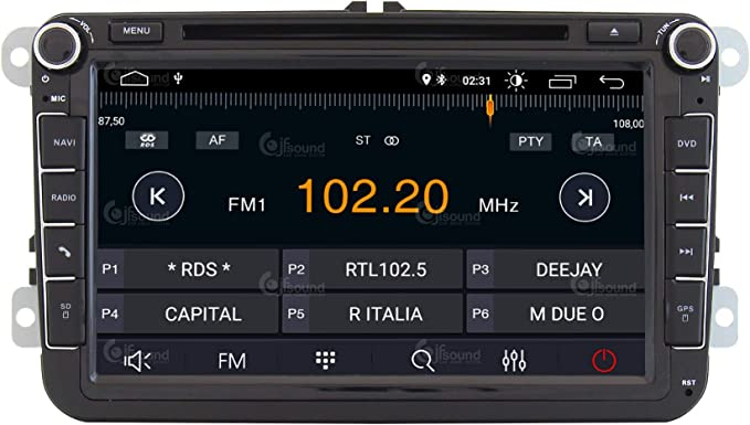 """Jf Sound Car Audio System Radio de Coche Personalizada Volkswagen Android GPS Bluetooth WiFi Dab USB Full HD Touchscreen Display 8"""""""