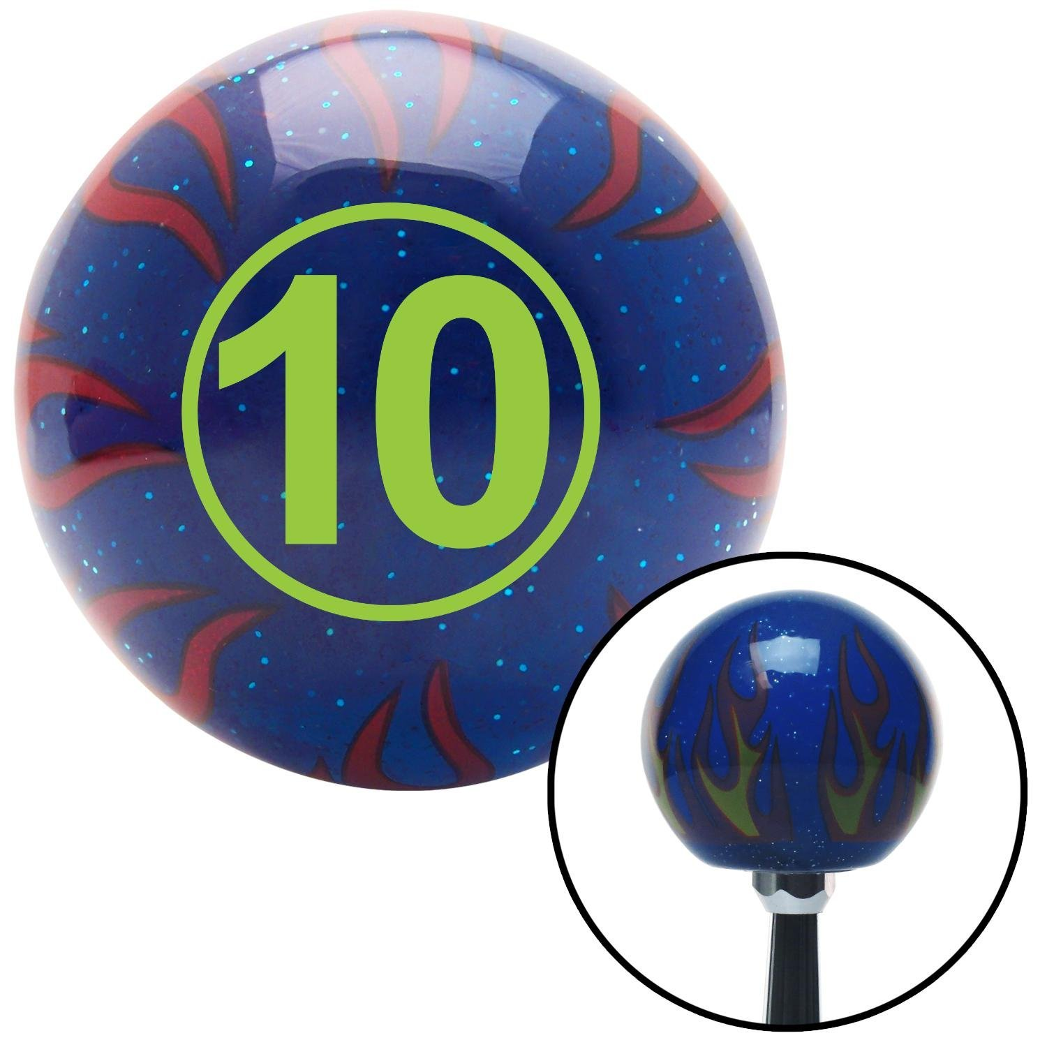 American Shifter 244579 Blue Flame Metal Flake Shift Knob with M16 x 1.5 Insert Green Ball #10