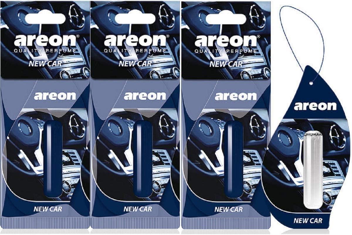 Areon Liquid Auto Duft New Car Neues Auto Lufterfrischer Neuwagen Parfüm Autoduft Blau Duftflakon Flakon Set Aufhängen Hängend Anhänger Spiegel 5ml 3d Pack X 3 Auto
