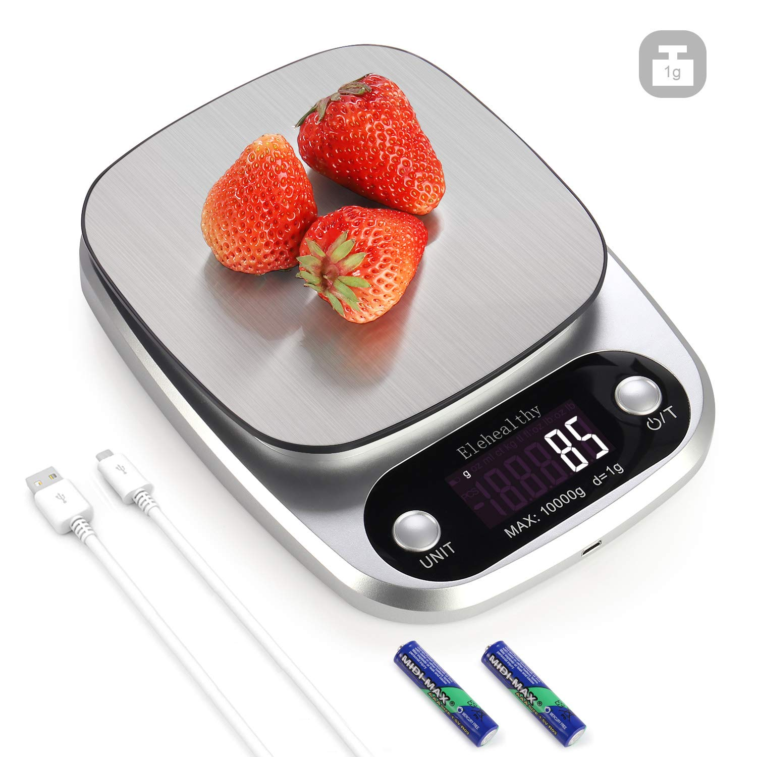 High Precision Kitchen Scale, Rechargable Food Scale Digital 10KG/22lbs,9 Measurement Units, Brushed Stainless Steel, 450mAh Lithium and 2AAA Batteries included(10kg/1g)