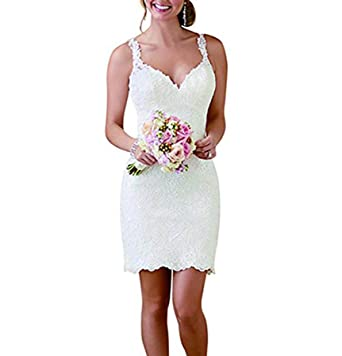 Vweil Vintage Inspired Vestido De Novia Short Lace Wedding Dresses With Detachable Skirt VD22 at Amazon Womens Clothing store: