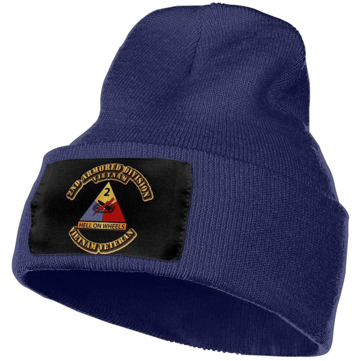 VN Veteran Men/&Women Warm Winter Knit Plain Beanie Hat Skull Cap Acrylic Knit Cuff Hat 2nd Armored Division