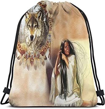 Wolf Drawstring Backpack Rucksack Shoulder Bags Training Gym Sack For Man And Women
