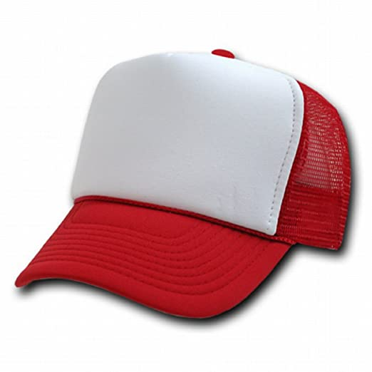 RED AND WHITE MESH TRUCKER STYLE CAP HAT CAPS HATS ADJUSTABLE at ... b7e8a23ef70