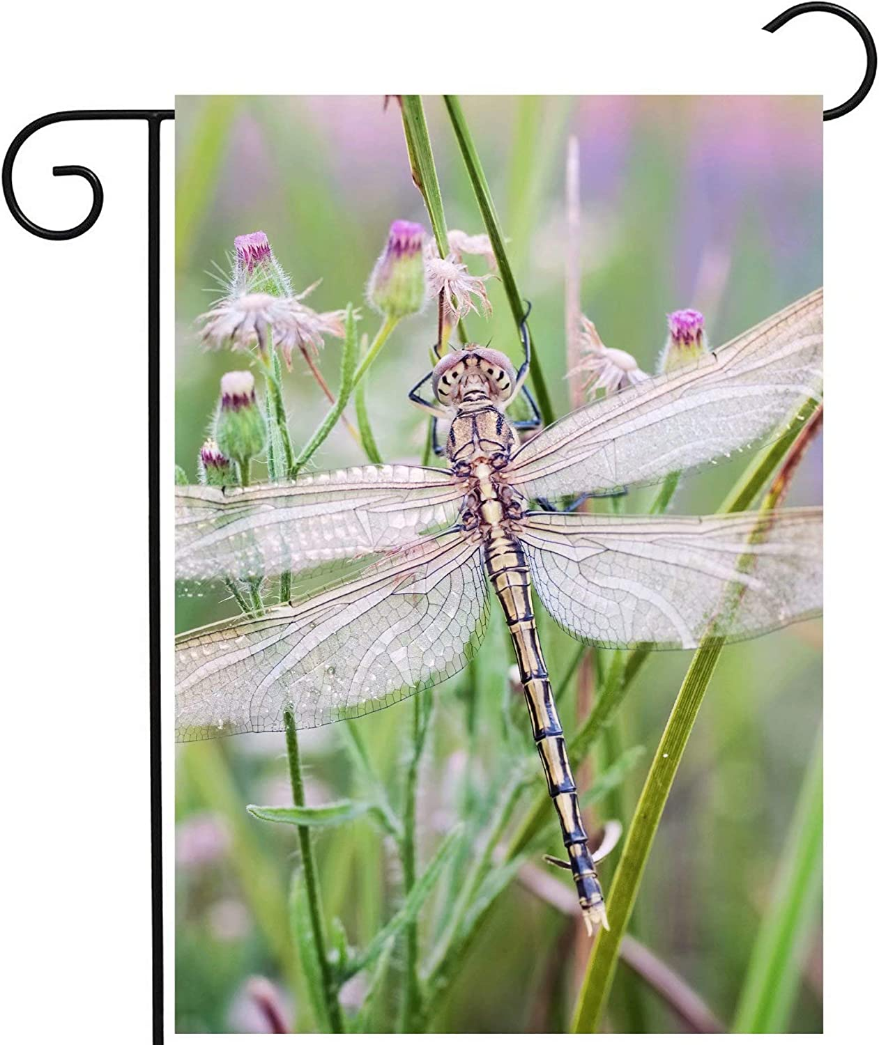 """ShineSnow Spring Summer Dragonfly Insects Flowers Wildlife Nature Landscape Garden Yard Flag 12""""x 18"""" Double Sided Polyester Welcome House Flag Banners for Patio Lawn Outdoor Home Decor"""