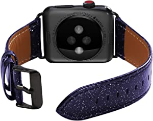 ALADRS Bling Leather Watch Straps Compatible for Apple Watch Glitter Band 38mm 40mm, Shiny Sparkly Wristbands Replacement for iWatch Series 6 5 4, SE (40mm) Series 3 2 1 (38mm), Dark Blue