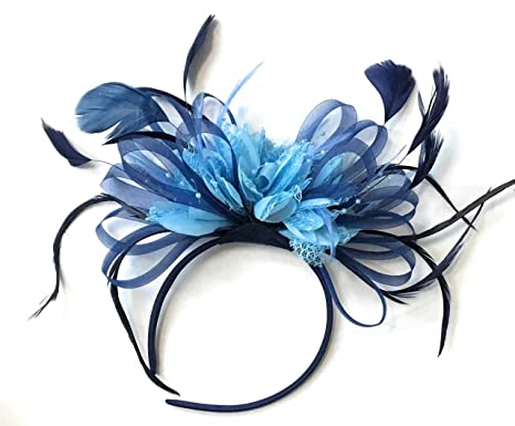 933086e2f13a5 Navy and Baby Light Cornflower Blue Fascinator Light Net Hoop Feather Hair  Headband Wedding Royal Ascot Races  Amazon.co.uk  Clothing