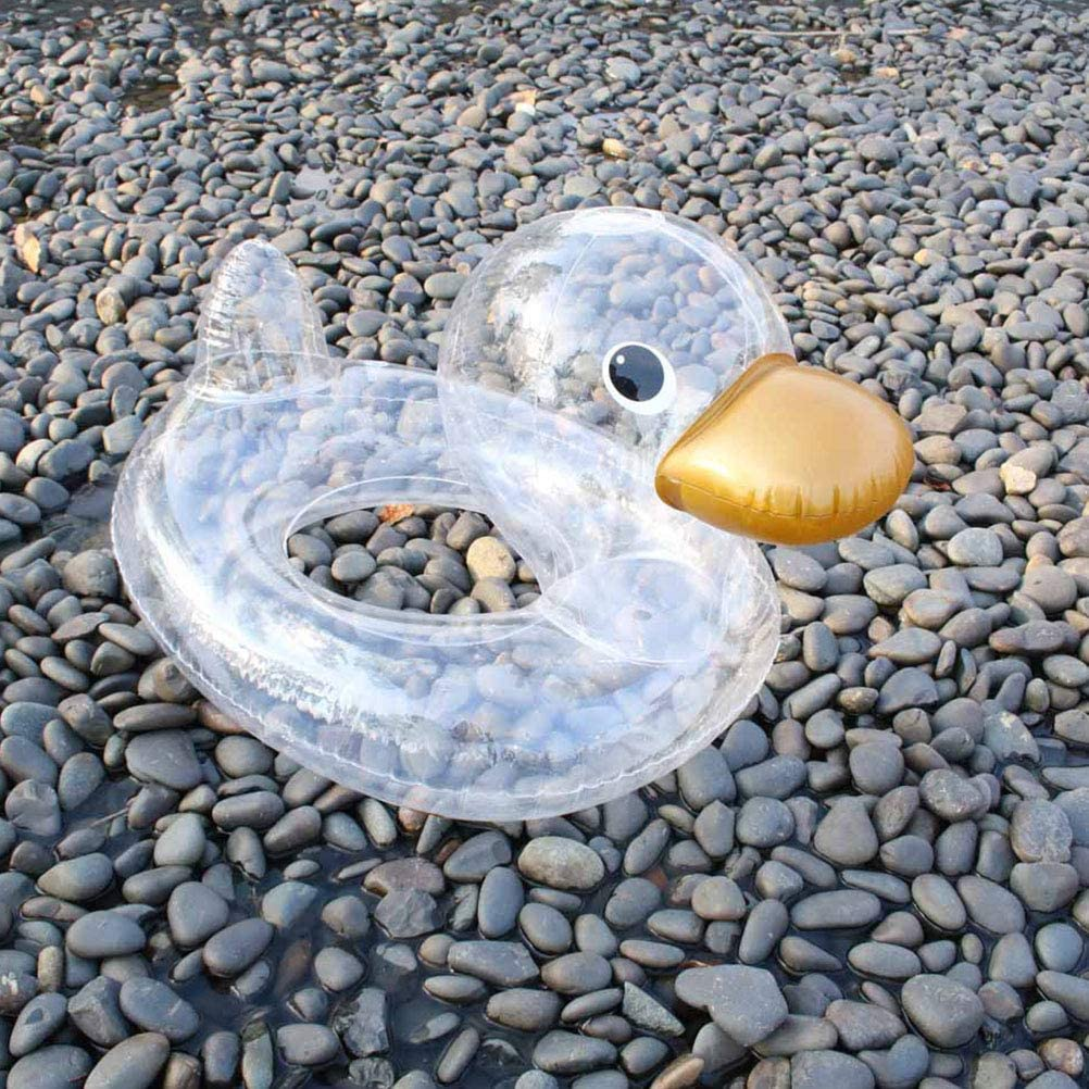 Transparent ABOOFAN 1Pc Creative Duck Decor Inflatable Swim Ring Float Simple Graphics Life Ring Swimming Pool Toy