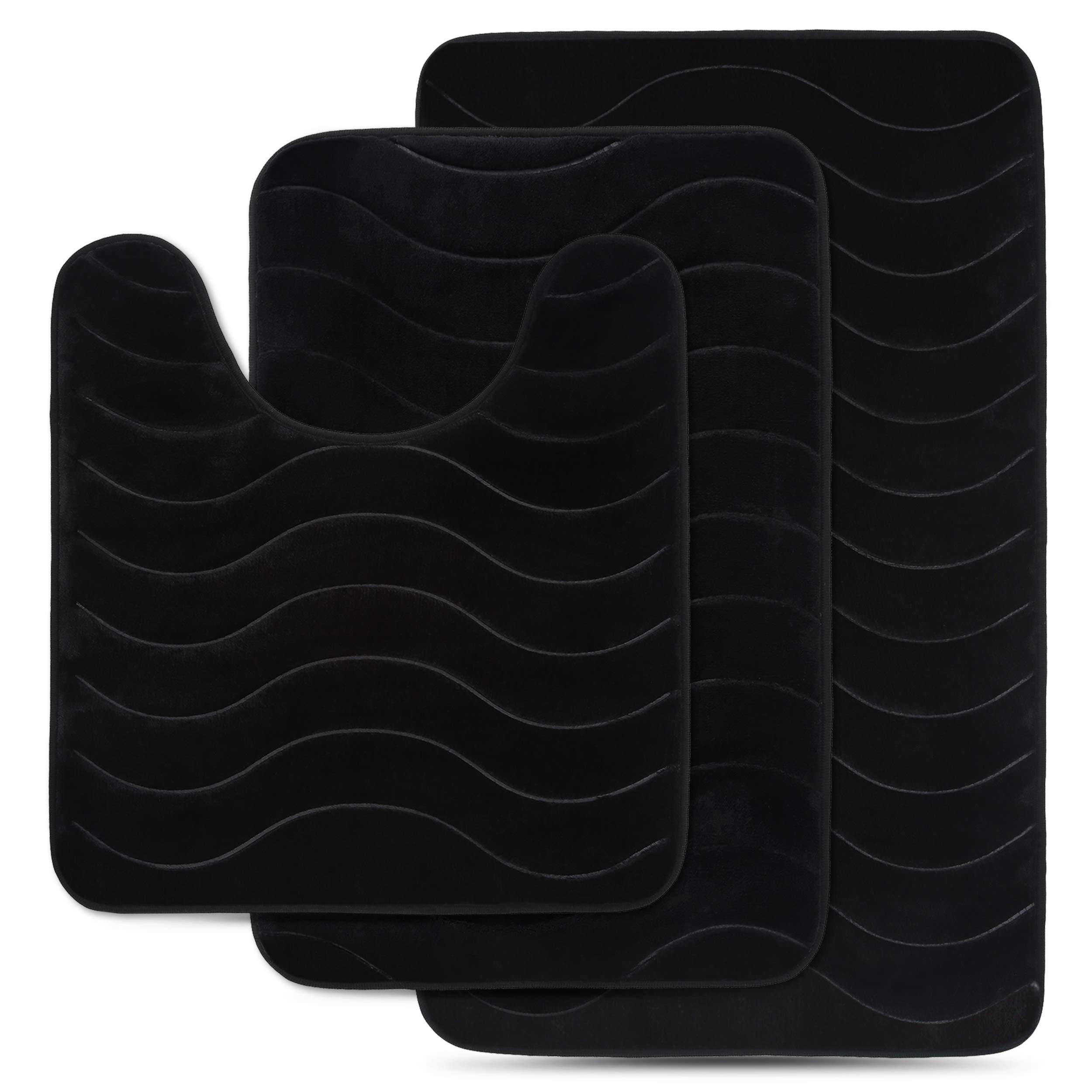 Effiliv 3 Piece Bathroom Rugs Set - Memory Foam Bath Mats, Black/Water Sea