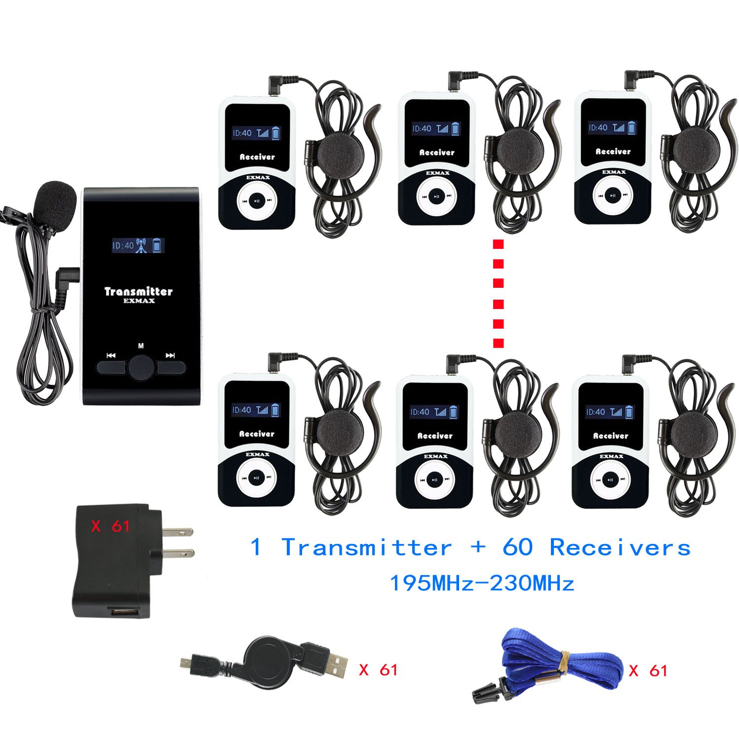 EXMAX ATG-100T 195-230MHz Wireless Tour Guide Monitoring System Microphone Earphone Headset for Church Simultaneous Interpreting Teaching Conference Travel Interpretation(1 Transmitter 60 Receivers)