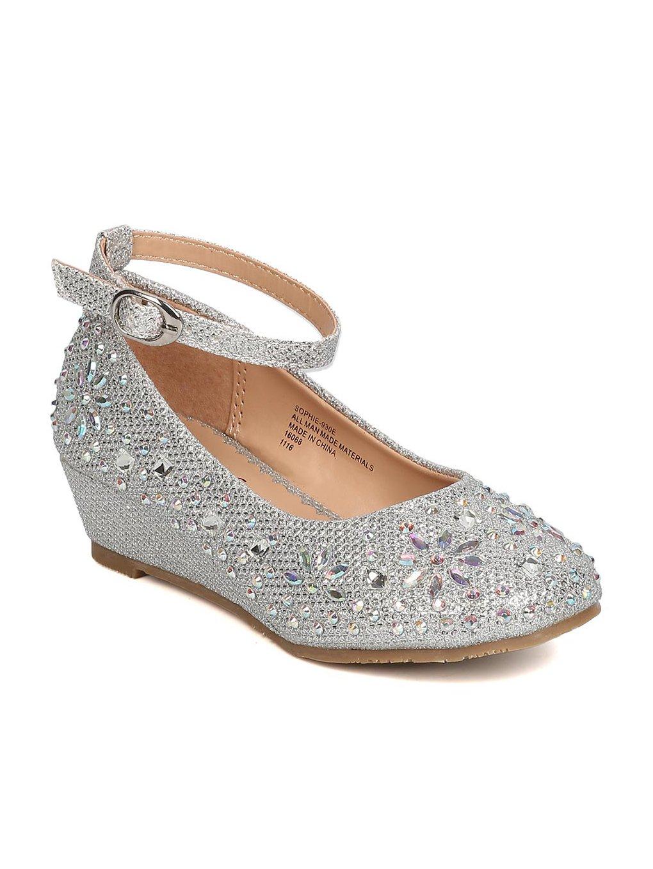 Little Angel Silver Girls Glitter Rhinestone Wedge (Size: Big Kid 4)