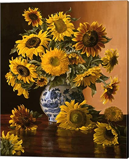Amazon Sunflowers In A Blue Willow Vase By Christopher Pierce
