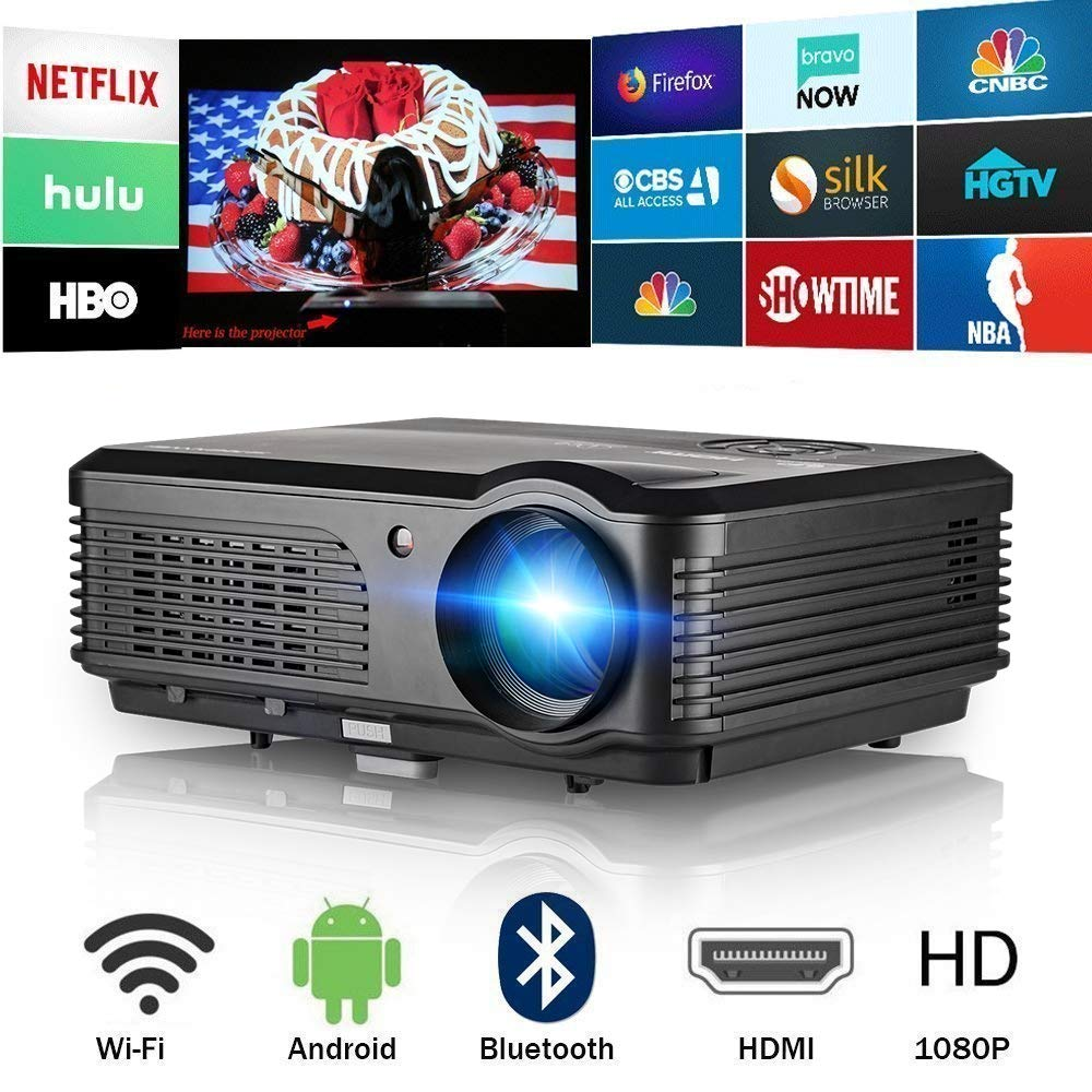 Bluetooth Projector WiFi 4400 Lumens Support HD 1080P LCD LED Smart Video Proyector Gaming 2019 Android 6.0 Home Theater Airplay HDMI USB RCA VGA AV ...
