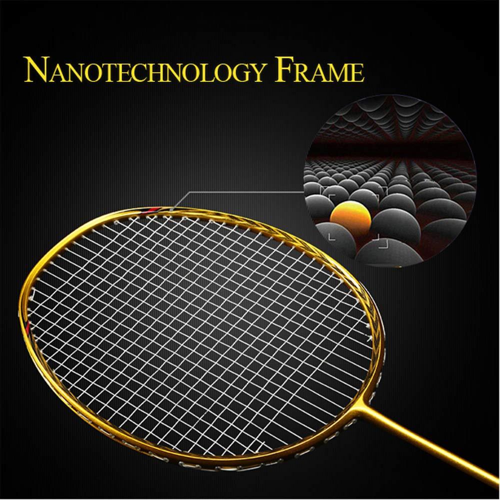 Senston N80 Graphite High-Grade Badminton Racquet,Professional Carbon Fiber Badminton Racket Included Black Gold Color Rackets 2 Carrying Bag by Senston (Image #5)