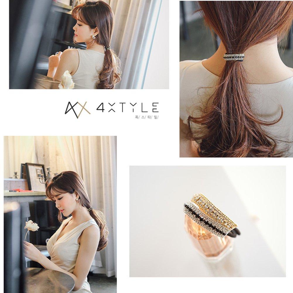 Casualfashion Ponytail Holder Stretchy Elastic Hair Tie Sparkling Crystal Rhinestone Hair Band Headband Hair Accessories for Women, 1Pcs (Silver Tone Black) : Beauty