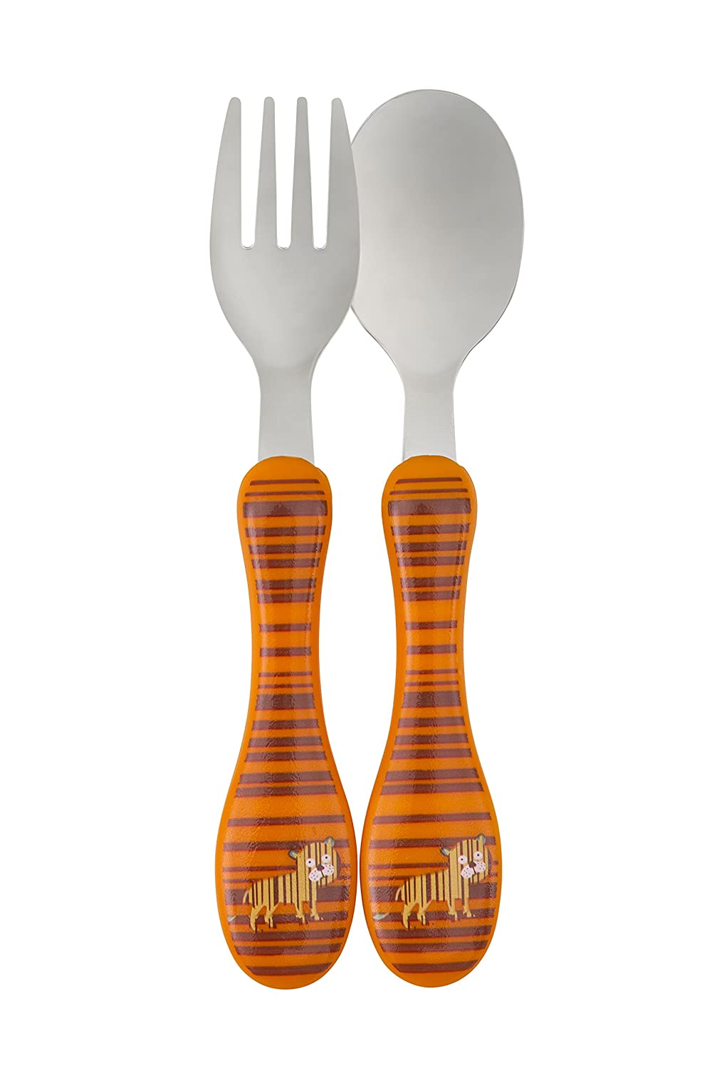 Lassig Kids 2 Set Stainless Steel Cutlery Fork and Spoon Utensil Set with Case, Wildlife Tiger LDISHCU189