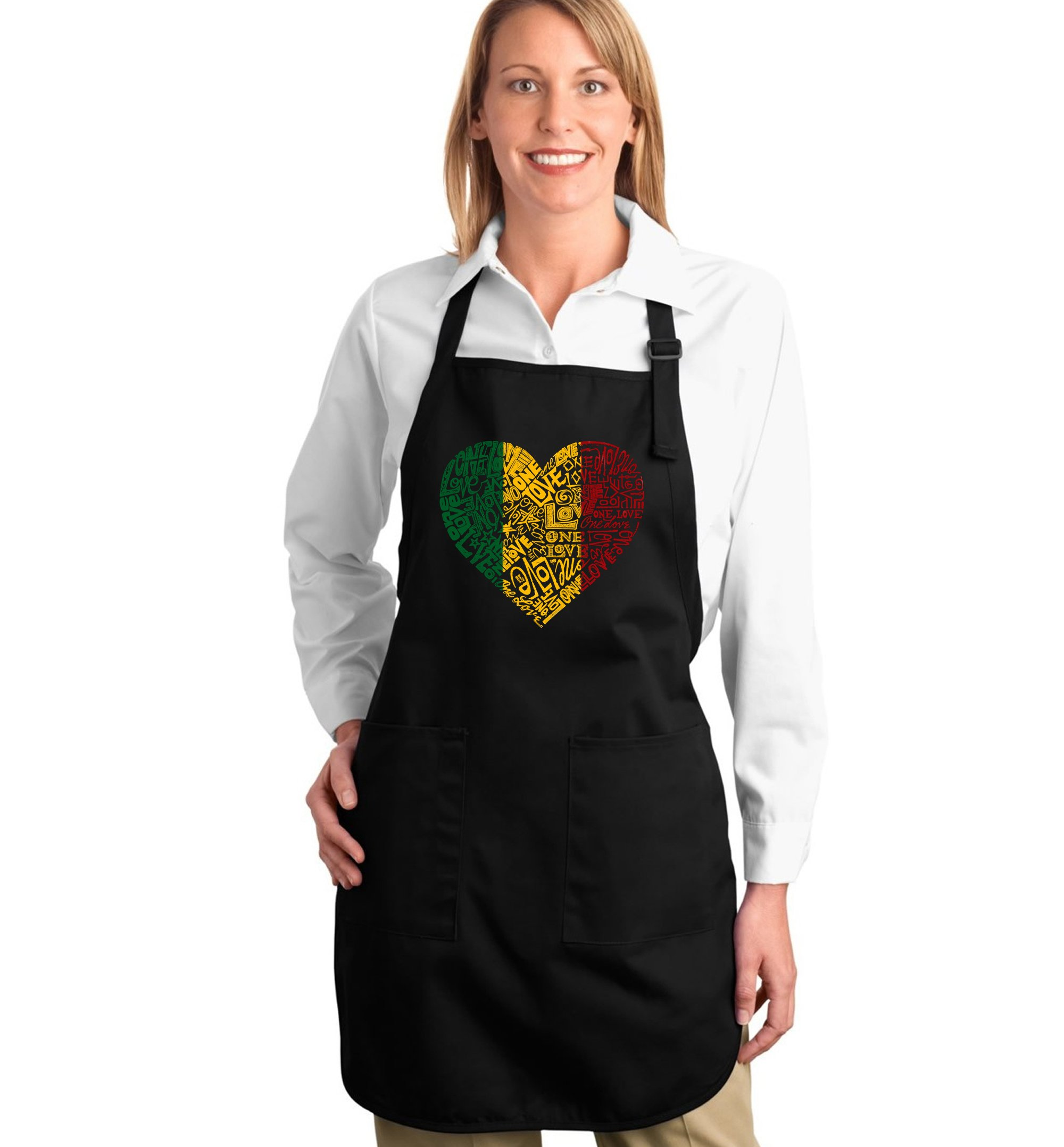 Word Art Apron - One Love Heart- LA Pop Art