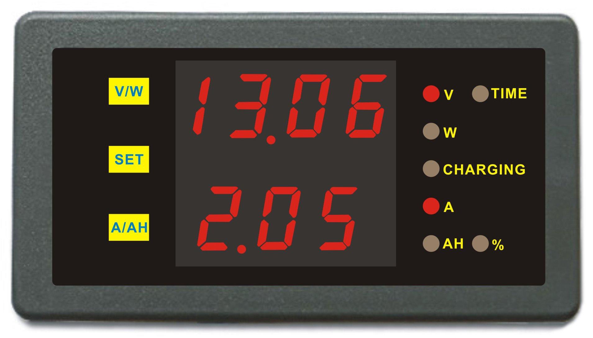 DC 0-120V 0-100A Volt Amp Ah Power Capacity Percent Battery Monitor Watt Meter 50A 150A 200A 250A 300A 400A 500A 600A 750A 1000A Shunt (0-120.0V,0-500.0A)