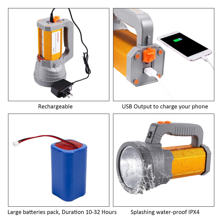 Super Bright Rechargeable LED Spotlight Flashlight High Powered 6000 Lumens CREE Handheld Searchlight Large 18650 Battery 10000mah Long Lasting Waterproof, Side Flood Light Camping Lantern Work Light by GEPROSMA (Image #3)