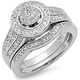 0.50 Carat (ctw) Sterling Silver White Diamond Round Ladies Bridal Engagement Ring Set 1/2 CT