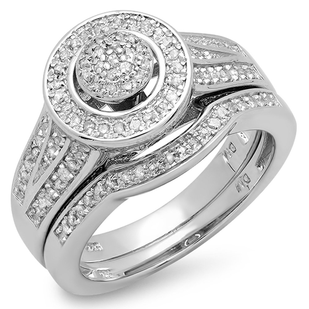 0.50 Carat (ctw) Sterling Silver White Diamond Round Ladies Bridal Engagement Ring Set 1/2 CT (Size 7)