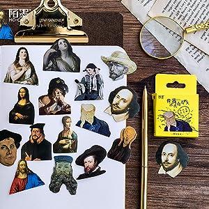 Small Scrapbooks Laptop Stickers, Doraking Boxed Famous Person Shaped Stickers for Laptop, Scrapbooking, Suitcase (Big-Shot as Me, 45PCS/Box)