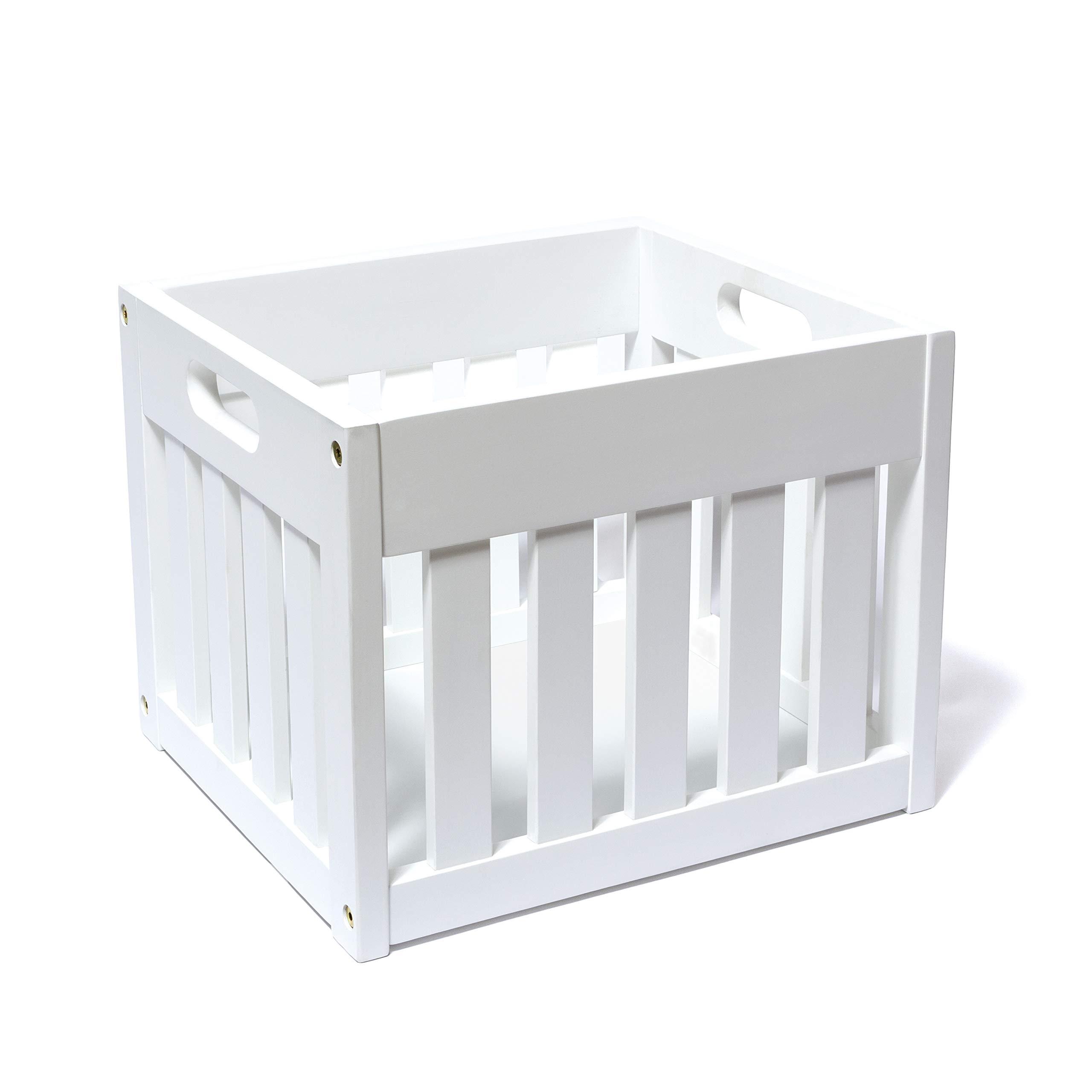 Lipper International 540W Wooden Crate, White Storage, One Size, by Lipper International