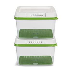 Rubbermaid 2108374 FreshWorks Food Storage, (2) 17.3C Large Rectangles, Green
