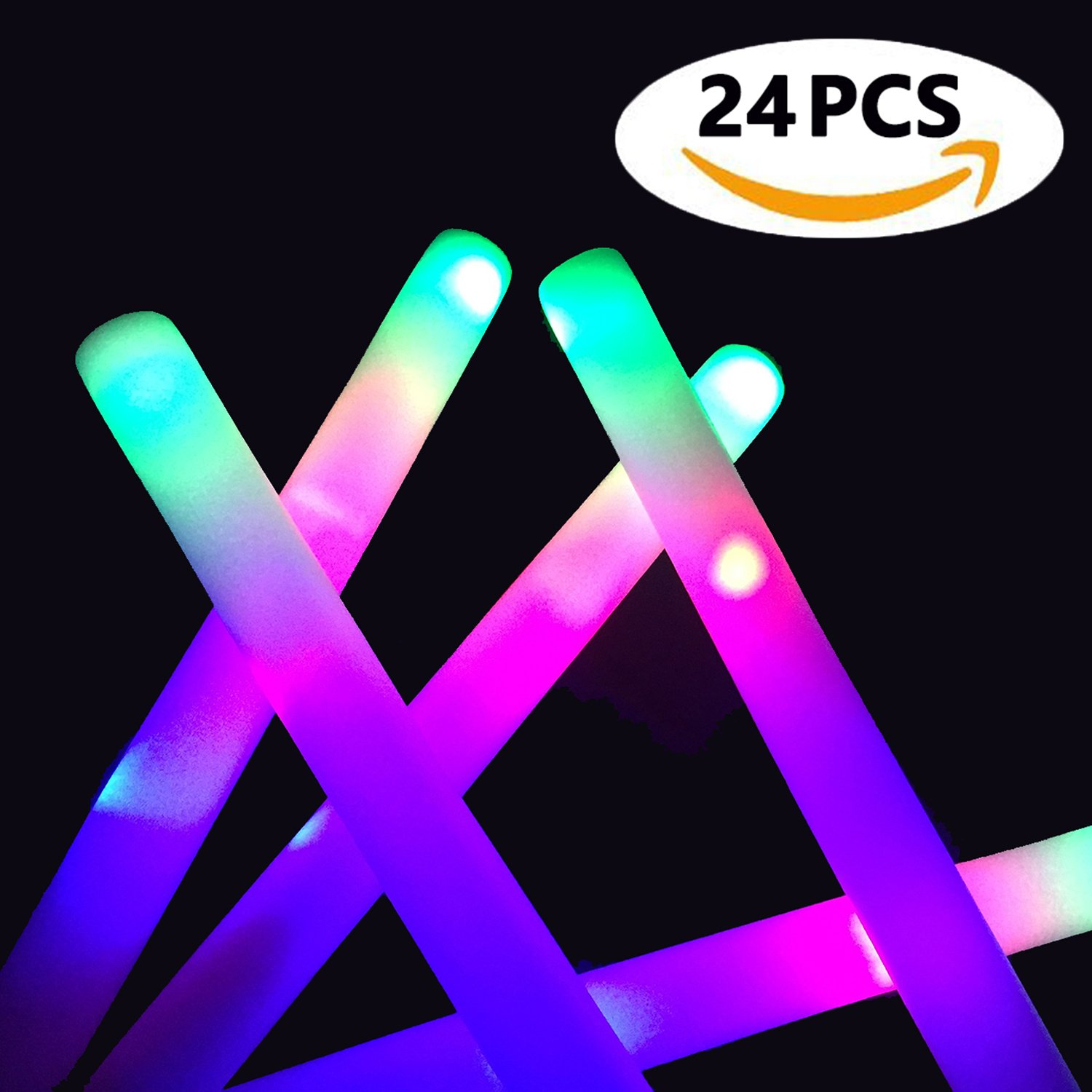 Glow Sticks Bulk - 24 Pcs LED Foam Sticks Glow Batons with 3 Modes Flashing Effect, Light Up Toys Glow in The Dark Party Supplies by ColorHome